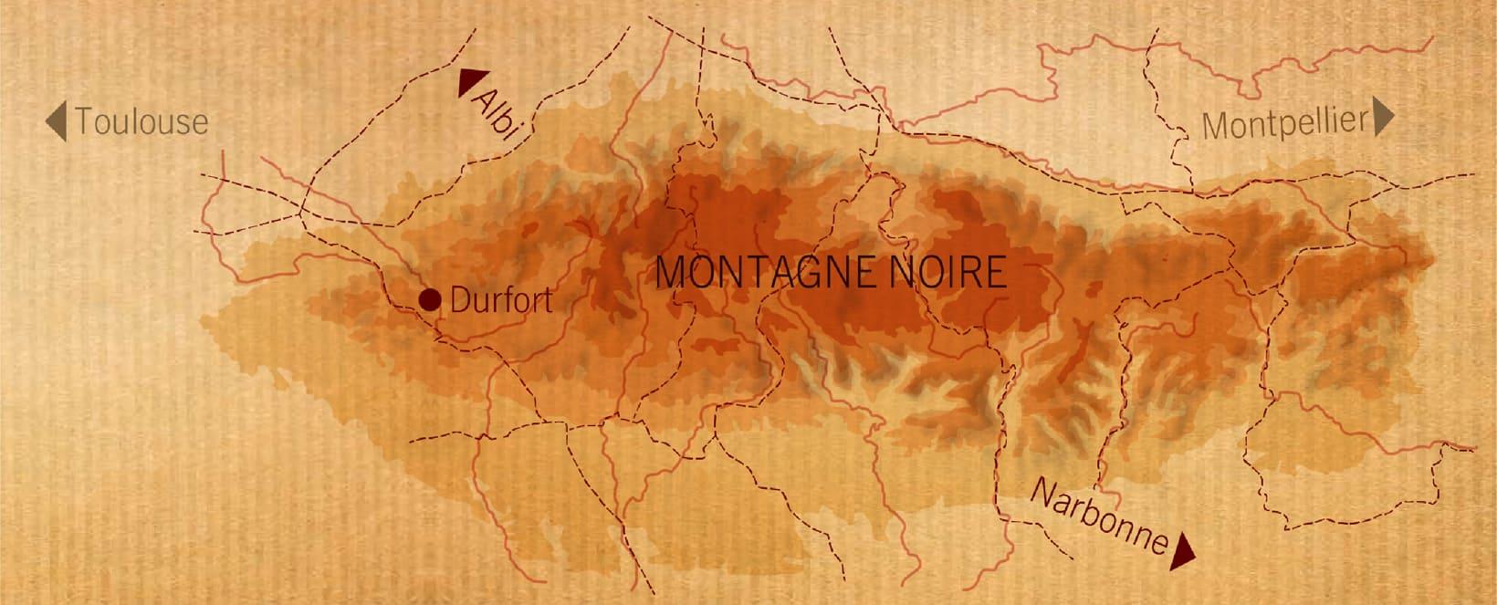 carte lieux de fabrications montagne noire